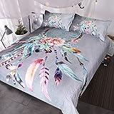 BlessLiving Big Dreamcatcher Colors Bedding, 3 Piece Dream Catcher Duvet Cover Set, Boho Doona Cover Hippie Bedspread Coverlet (Queen, Light Gray)