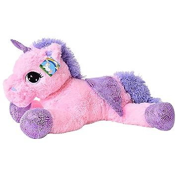 te-trend Caballo de peluche unicornio unicornio tendida 60cm fucsia o blanco con púrpura aplicaciones