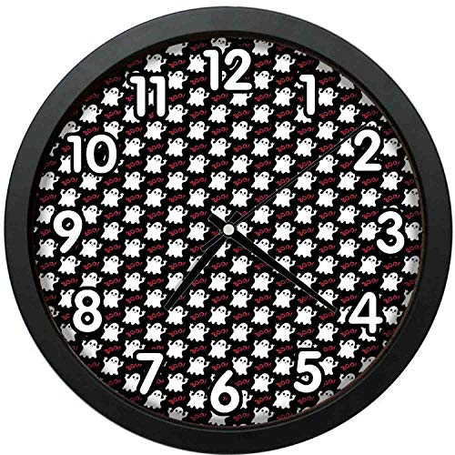 47BuyZHJX 12 inch Large Digital Silent Quartz Movement Wall Clock,Backdrop Pattern-Happy Halloween Theme with Silly White Ghosts on Black with Boo Texts,Home School Office Wall Clock