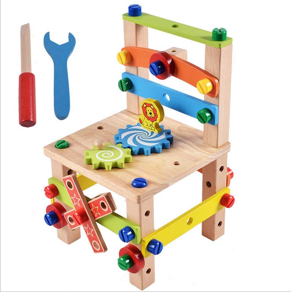 Beige QIDUll Spielzeug aus Holz Puzzle - Denkspiel - Knobelspiel - Geduldspiel - Logikspiel 3D Kombinationsmontage Spielzeug Werkzeugstuhl