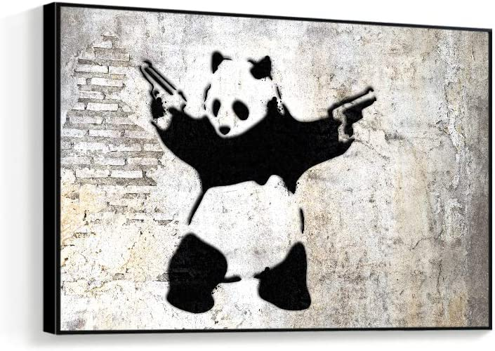 "NWT Framed Canvas Wall Art for Living Room, Bedroom Banksy Theme Canvas Prints for Home Decoration Ready to Hanging - 24""x36"" inches"