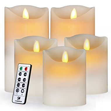 comenzar Flameless, Led Realistic Moving Set of 5(H4 4  4  6  6  xD3.25) Flickering Candles with Remote Timer(Batteries not Included), (Ivory)