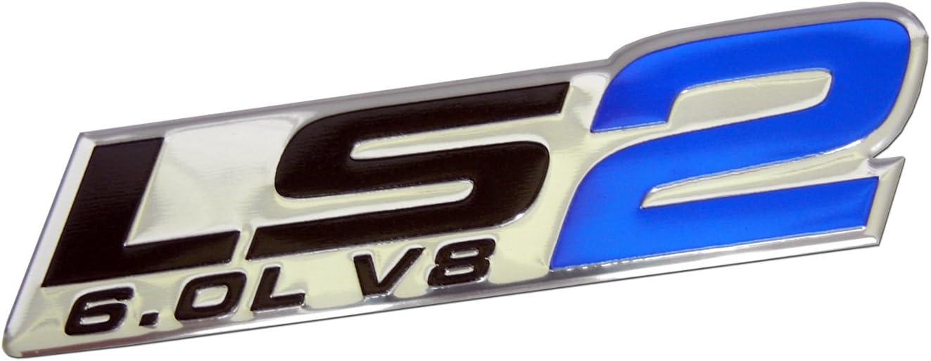 2 pc LS2 6.0L V8 EMBLEM BADGE BLUE GTO SSR CTS-V TRAILBLAZER SS