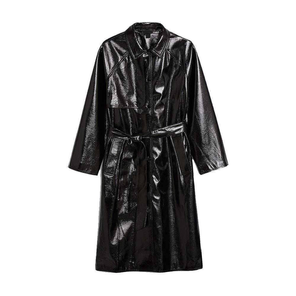 AAADRESSES Trench Coat Femme Grande Taille Automne Hiver Steampunk Cuir Haut Manteau Trench-Coat Classique /À Devant Crois/é Et Aux Rues
