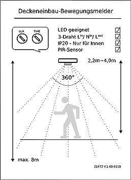 2 in1 IR Detector de movimiento 360 ° – Montaje + montaje + con sensor crepuscular – Apta para LED.: Amazon.es: Bricolaje y herramientas