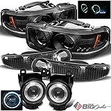 For 2000-2006 GMC Sierra/Yukon Denali Black Halo Projector Headlights Set + Halo Projector Fog Lights 2001 2002 2003 04