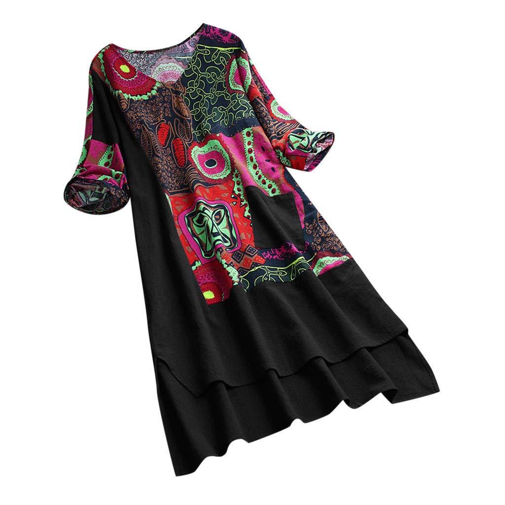 Womens Cotton Linen Dress Vintage Loose Bohemian Print Patchwork Half Sleeve Pocket Baggy Clothes
