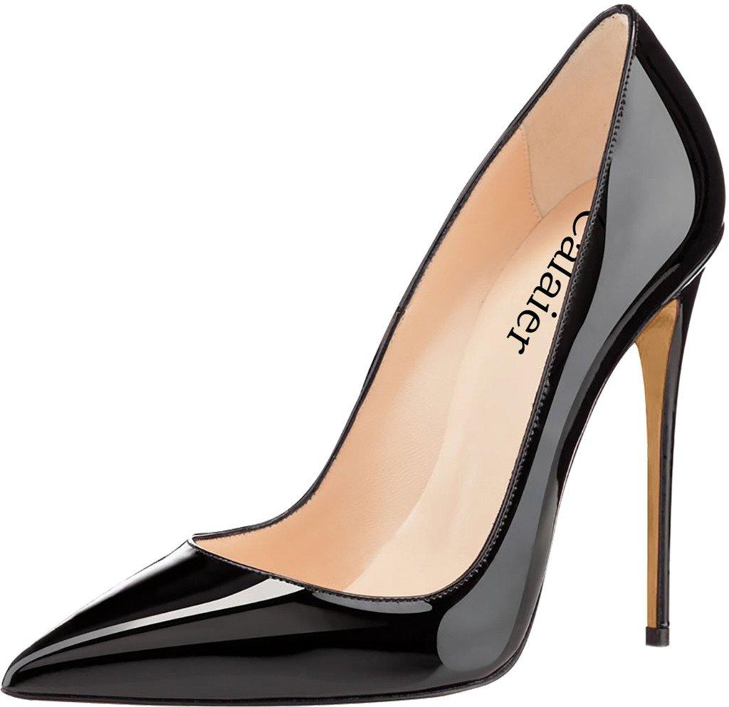 Calaier Mujer Cahen Tacón De Aguja 12CM Sintético Ponerse Zapatos de Tacón 43 EU|Negro B