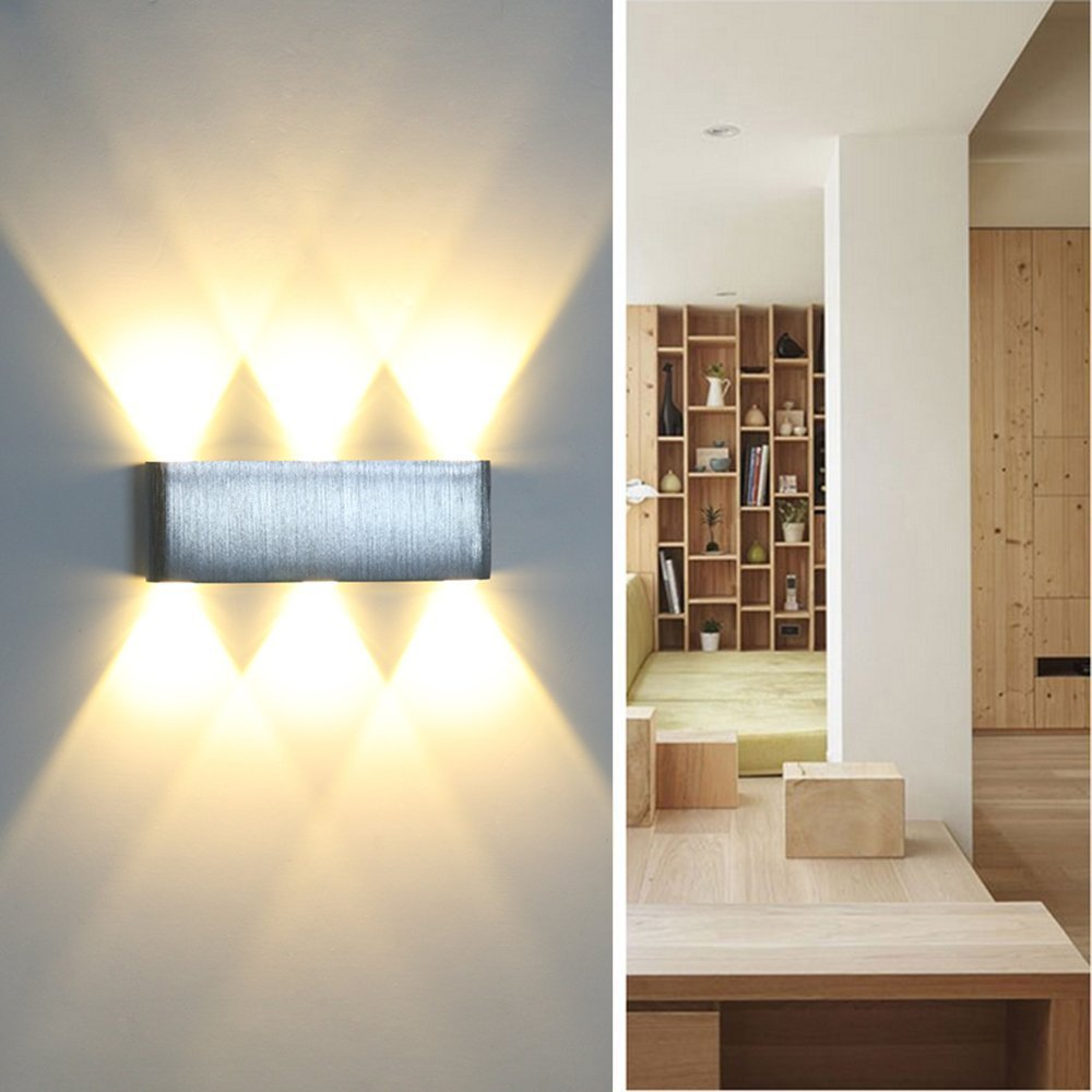 Powstro Wall Light Up and Down 6W 6-LED Aluminum Modern Cuboid Wall Lamp Indoor Outdoor Decoration AC 85-265V (WARM WHITE)
