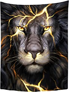 gothenchn Black and Gold Africa Lion Tapestry Wall Hanging, Cool Fantasy Animal Head Home Decors for Living Room Bedroom Dorm RVs Camper Travel Beach Party, 30x40 inches Poster Size