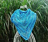 Hand knit shawl/scarf/wrap - Merino - Blue - Special Gift for Her