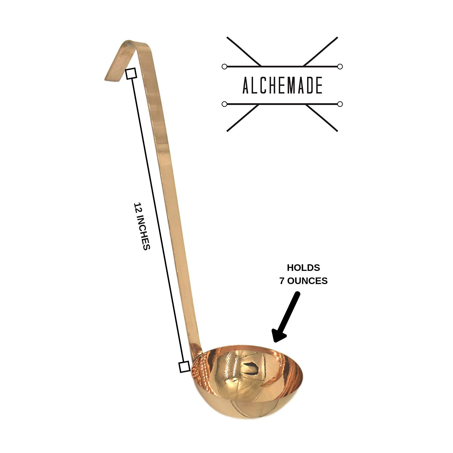 100/% Pure Heavy Gauge Copper 7 Ounce By Alchemade Premium Quality Copper Ladle