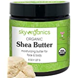 Organic Shea Butter by Sky Organics (8 oz) 100% Pure Unrefined Raw African Shea Butter for Face and Body Moisturizing Natural