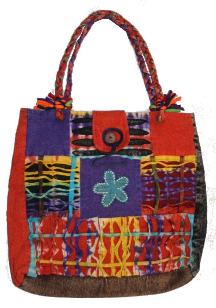 116 BG Patchwork Cotton Short handle Bohemian Gypsy Tote Bag