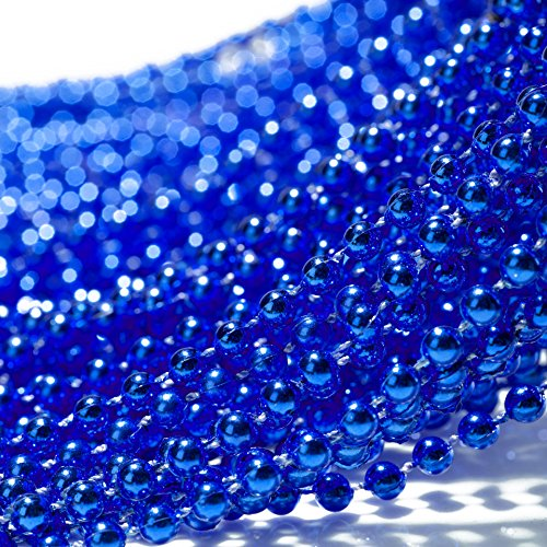 Qyler Blue 5mm Round Beads 30 Inch Gender Reveal Beads Baby Shower Decorations for Announcement Party (Set of 30)