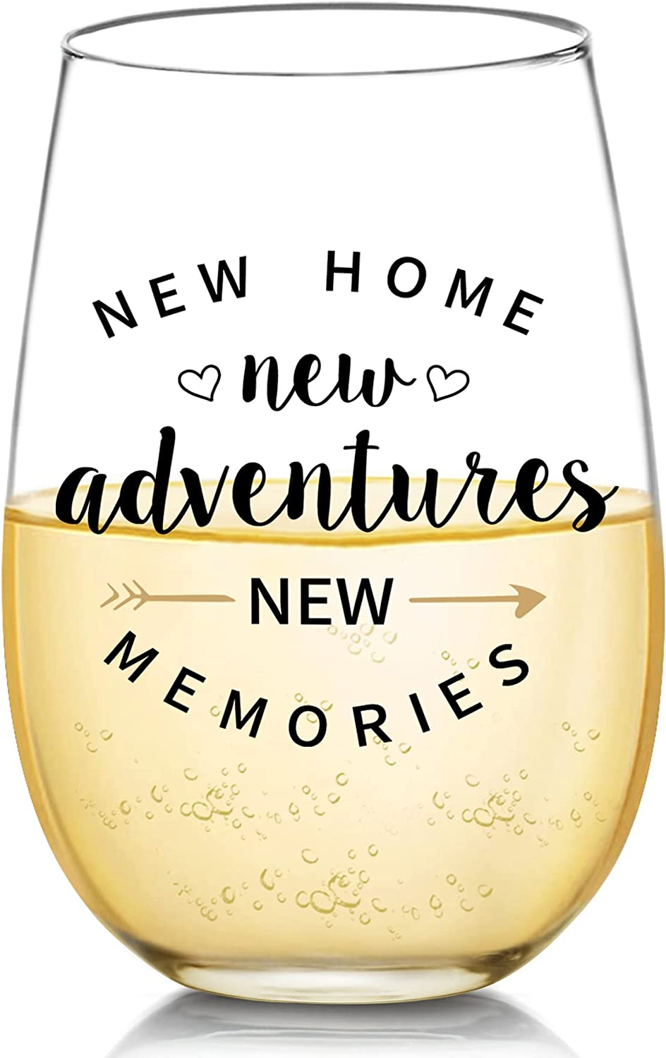 Housewarming Gifts for New Home - New Home New Adventure New Memories Funny Wine Glass for New Home House Owner Friends Couple Women Men, Unique First Time House Owner Gift Ideas for Men and Women