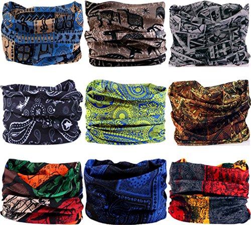 VANCROWN Headwear Wide Headbands Scarf Head Wrap Mask Neck Warmer (9PC.Totems Series)