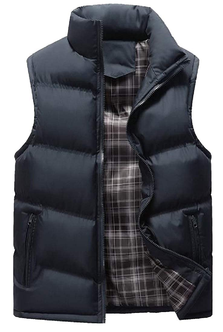 Abetteric Mens Western Plus Size Suede Thickening Quilted Jacket Vest
