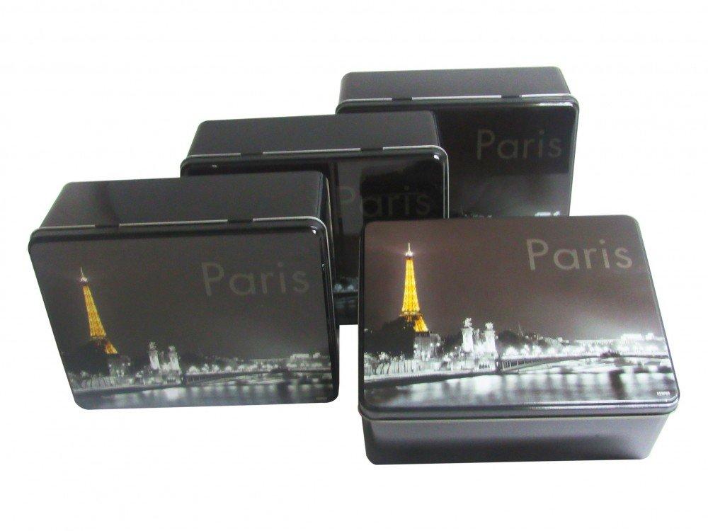 Gebäckdose Plätzchendose 4er Set Keksdose Blechdose Dekodose Paris Kesper