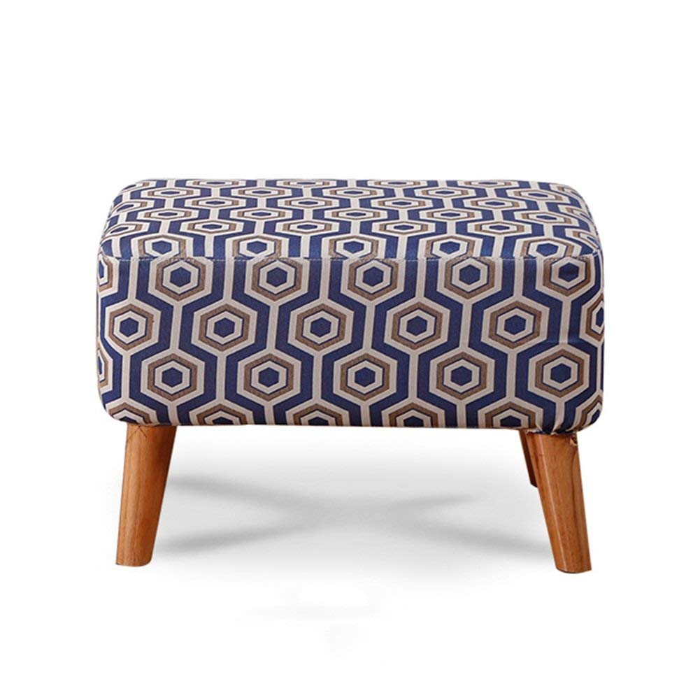 2 40x60x40CM Monfs HOME Footstool Sofa Stool Make-up Chair Seat Table Soft Solid Wood Legs Change shoes Square Fashion Portable, 8 colors, 2 Comfortable decoration (color    7, Size   40x60x40CM)