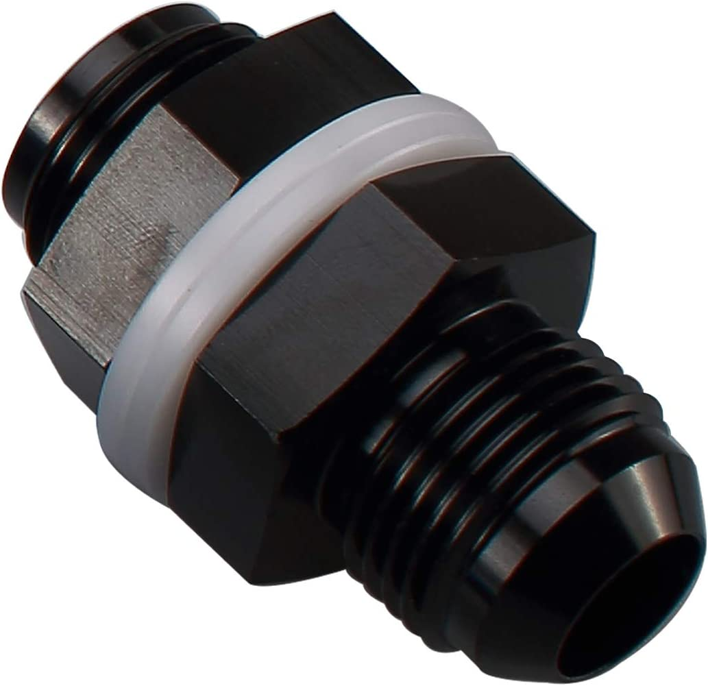 Aluminum Straight Bulkhead Fuel Fitting Black with 6AN Bulkhead Nut Male to Male 6 AN to AN6 Flare Union Adapter