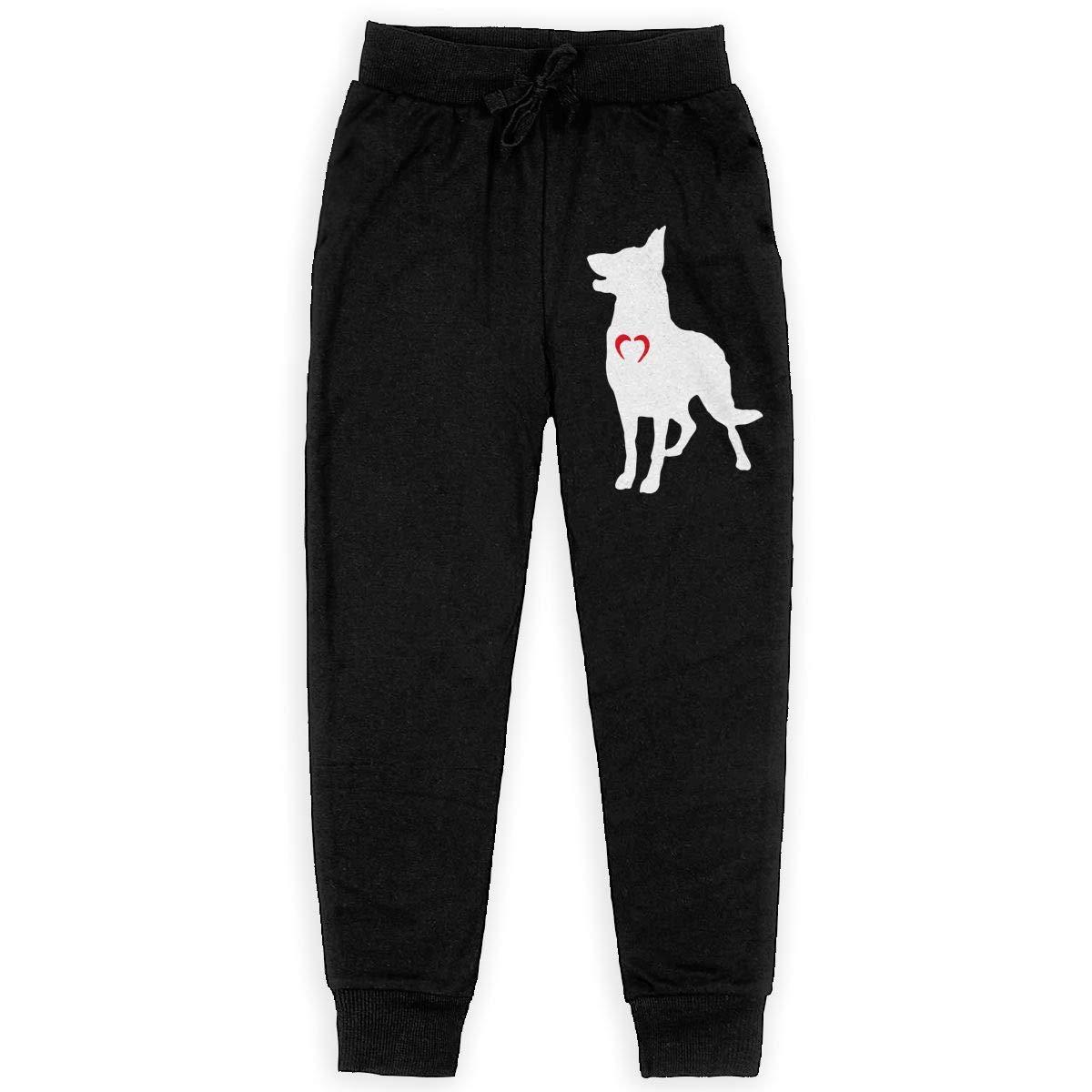 Teenager Active Basic Jogger Fleece Pants for Teenager Boys WYZVK22 German Shepherd with Heart-1 Soft//Cozy Sweatpants