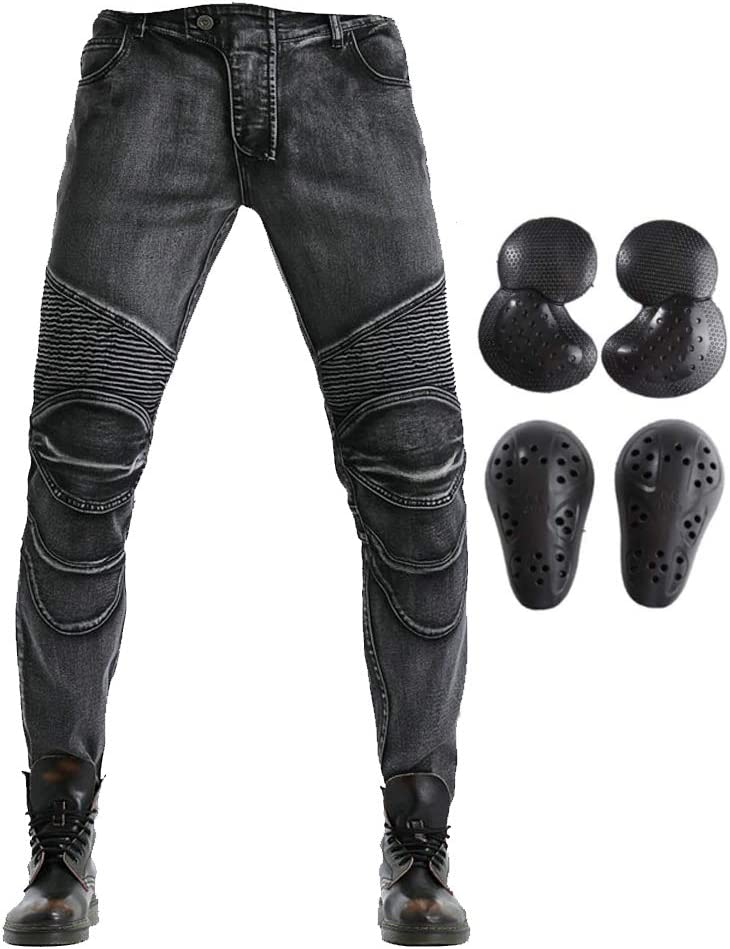 Black, M=30 2019 Men Motorcycle Riding Jeans Armor Racing Cycling Pants with Upgrade Knee Hip Protector Pads