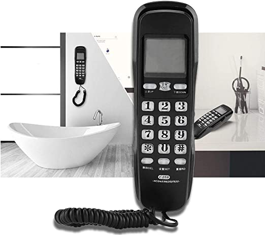 Rosvola Mini teléfono con Cable - Último número de rellamadas Teléfonos de Pared - Teléfono Fijo de Oficina con Soporte - Teléfono de Escritorio con Cable para Escritorio de Home Hotel: Amazon.es: Hogar