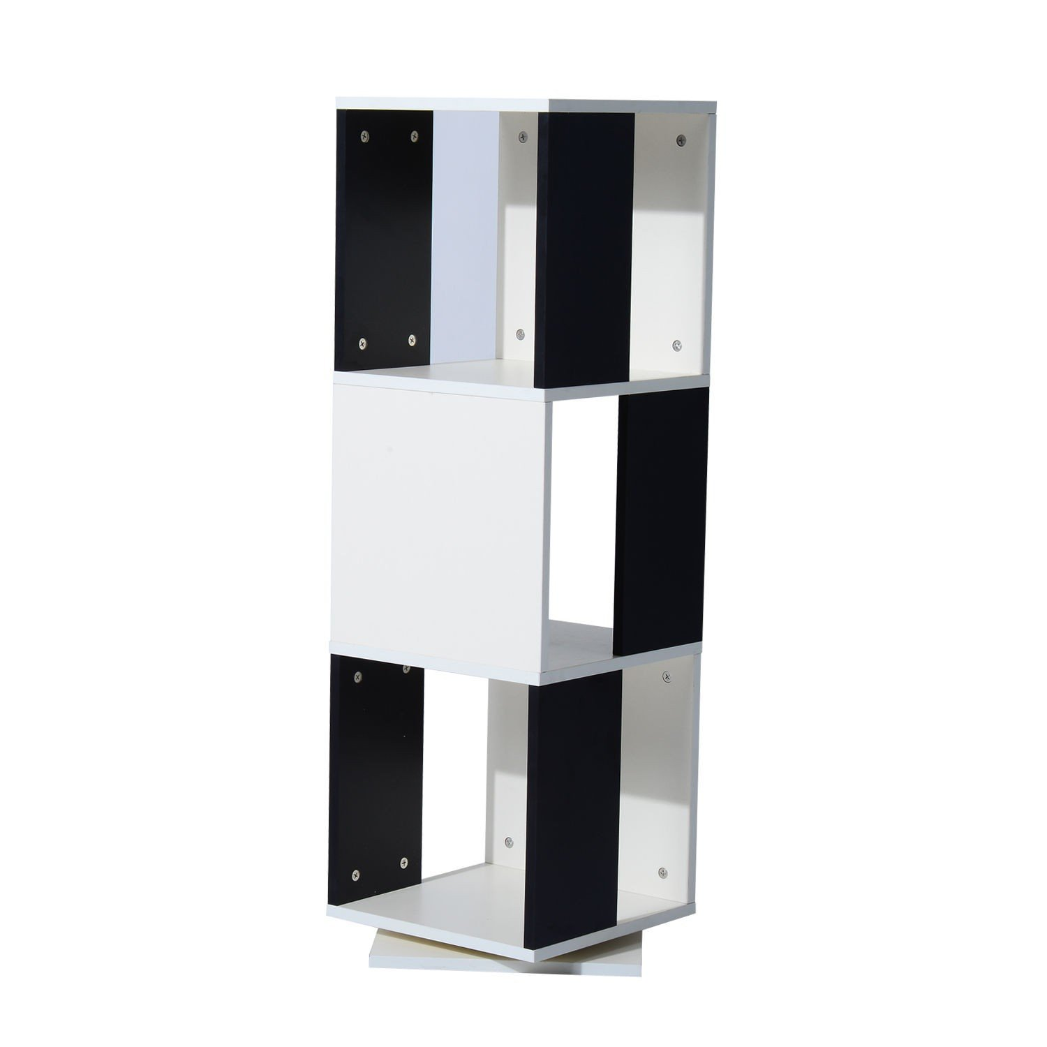 Stylish Bookcase Stand Rotating 3 Cube Tier Durable Black & White With Ebook
