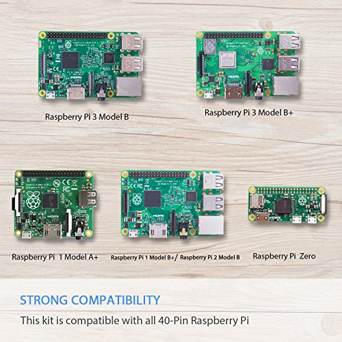 SunFounder Raspberry Pi 3 Model B+ Starter Kit Project Super Kit for RPi 3B+ 3B 2B B+ A+ Zero Including GPIO Breakout Board Breadboard LCD DC Motor LED RGB Dot Matrix 73 Page Manual User Guide by SunFounder (Image #2)