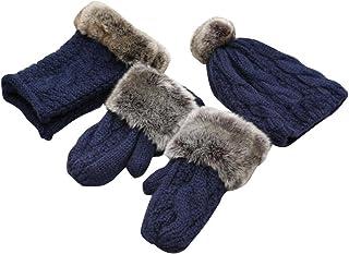 Beau Femme d'hiver Trois ensembles de gants et foulard et un chapeau Blancho Bedding