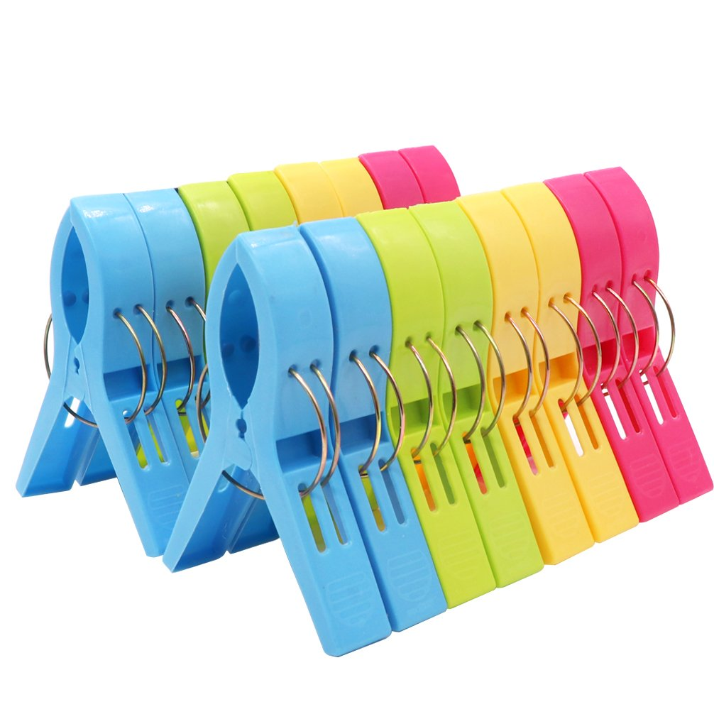 (16 Pack) Esfun Bright Color Beach Towel Clips for Beach Chair/Pool Chairs/Cruise- Plastic Towel Clamp Clip Holder -Jumbo Size- Keep Your Towel from Blowing Away, Clothes Lines