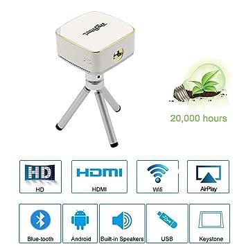 Mini Proyector con trípode HD Video WiFi Proyector Portátil DLP ...