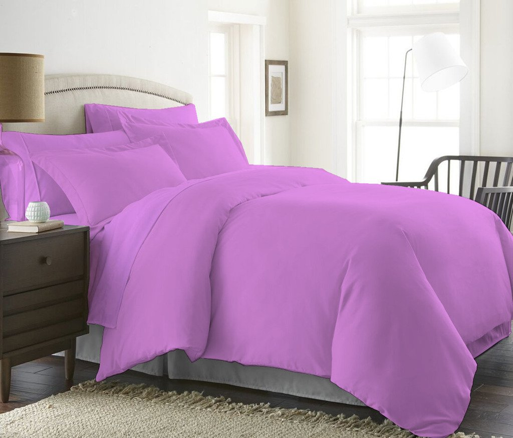 1000 Thread Count Duvet Cover With Zipper & Corner Ties 100% Egyptian Cotton Luxurious & Hypoallergenic ( Twin/TwinXL, Lavender