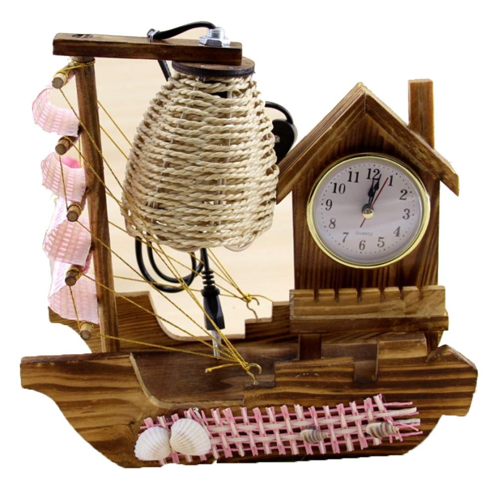 Wooden Crafts Boat Clock Lights Desktop Decorations Create Wooden Table Lamps Family Birthday Gifts