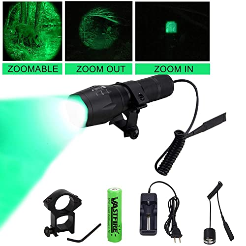 VASTFIRE 350 Yard Zoomable CREE Green Flashlight Kit Varmint Predator Coyote Hog Light with Remote Pressure Switch Rechargeable Batteries and Charger, Gift Box Packaging