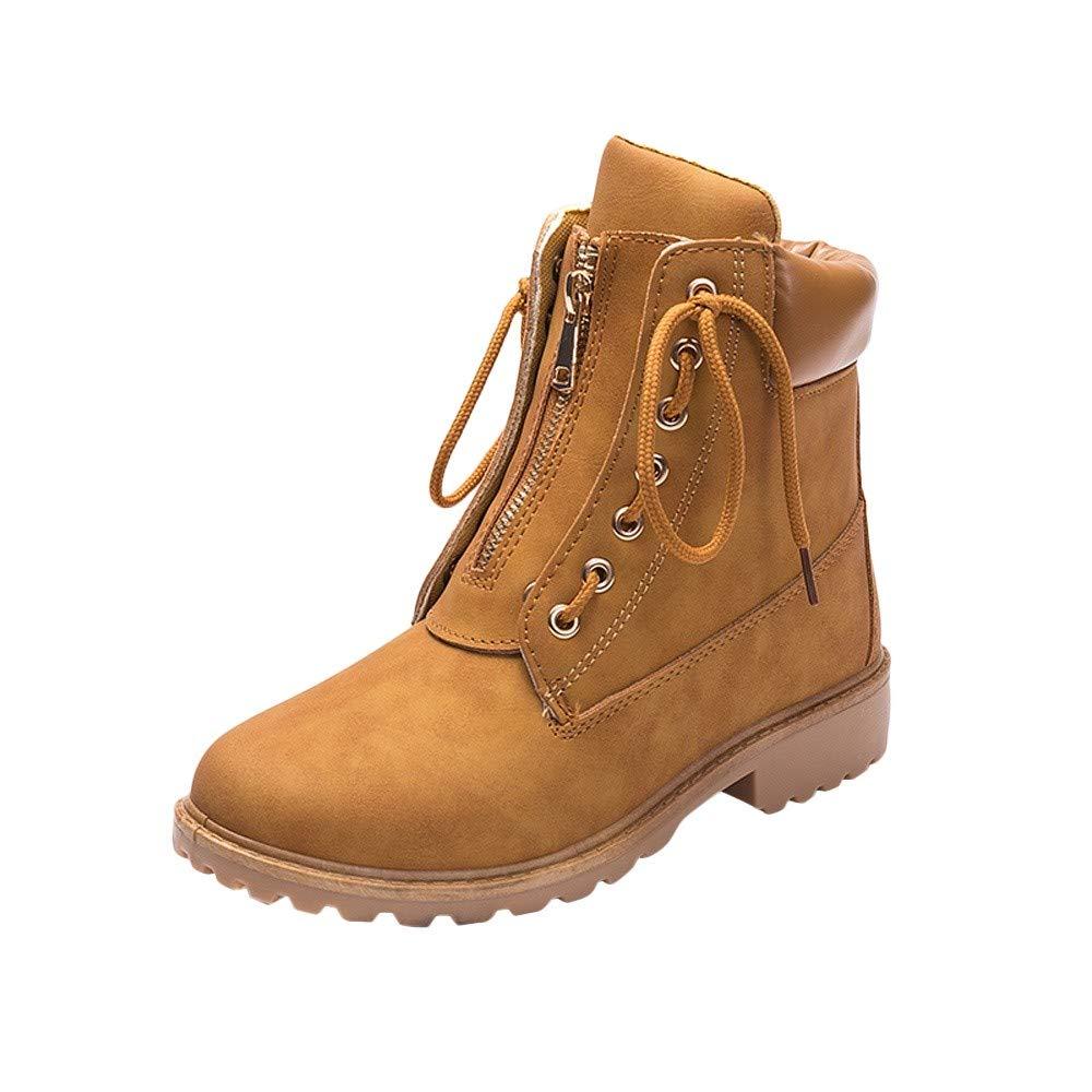 Zapatos de Punta Redonda Botas de Nieve del Estudiante Botines Casuales de Mujeres con Cordones de Cremallera de Encaje Só lido
