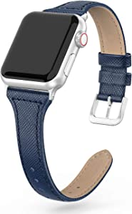 SWEES Leather Band Compatible for iWatch 38mm 40mm, Slim Thin Dressy Elegant Genuine Leather Strap Compatible with iWatch Series 6 5 4 3 2 1 SE Sport Edition Women, Blue