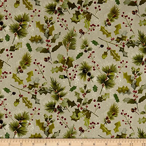 Fabri-Quilt Holiday Editions Pine Cones and Berries Metallic Fog/Multi Fabric by The Yard (Holidays Fabric Cotton Quilt)