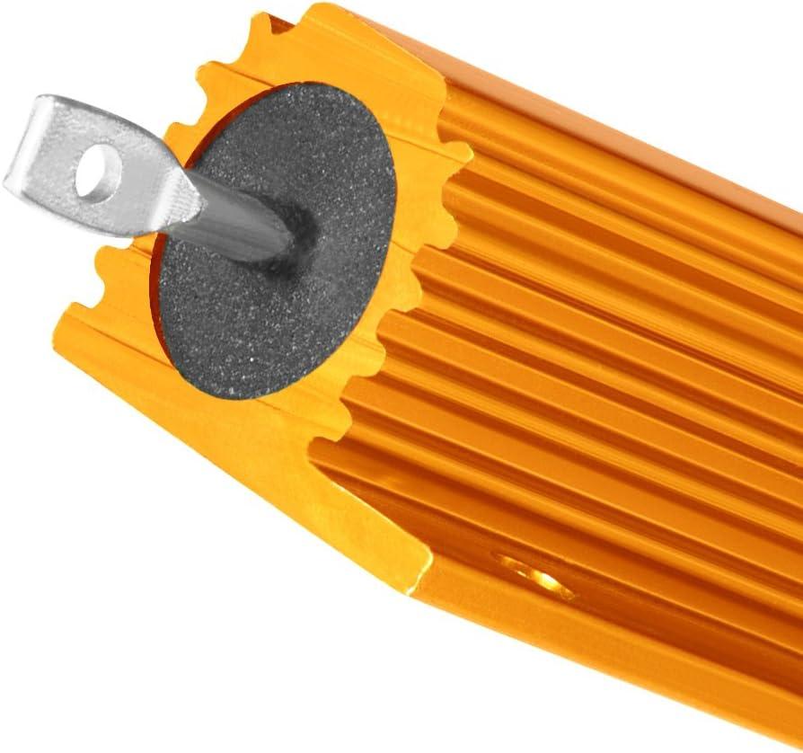 Sourcingmap Lot de 2/bo/îtier en aluminium r/ésistance 100/W 4/Ohm Wirewound Dor/é pour LED de remplacement de convertisseur 100/W 4rj