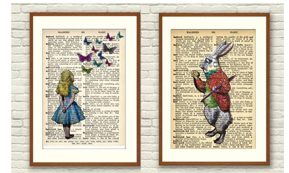Prints 2er Set Format A4 Alice im Wunderland Wanddeko ohne Rahmen