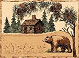 2'2'' X 7'2'' Country Theme Lodge Runner Rug With Bear Log Cabin Green Pines Cabin