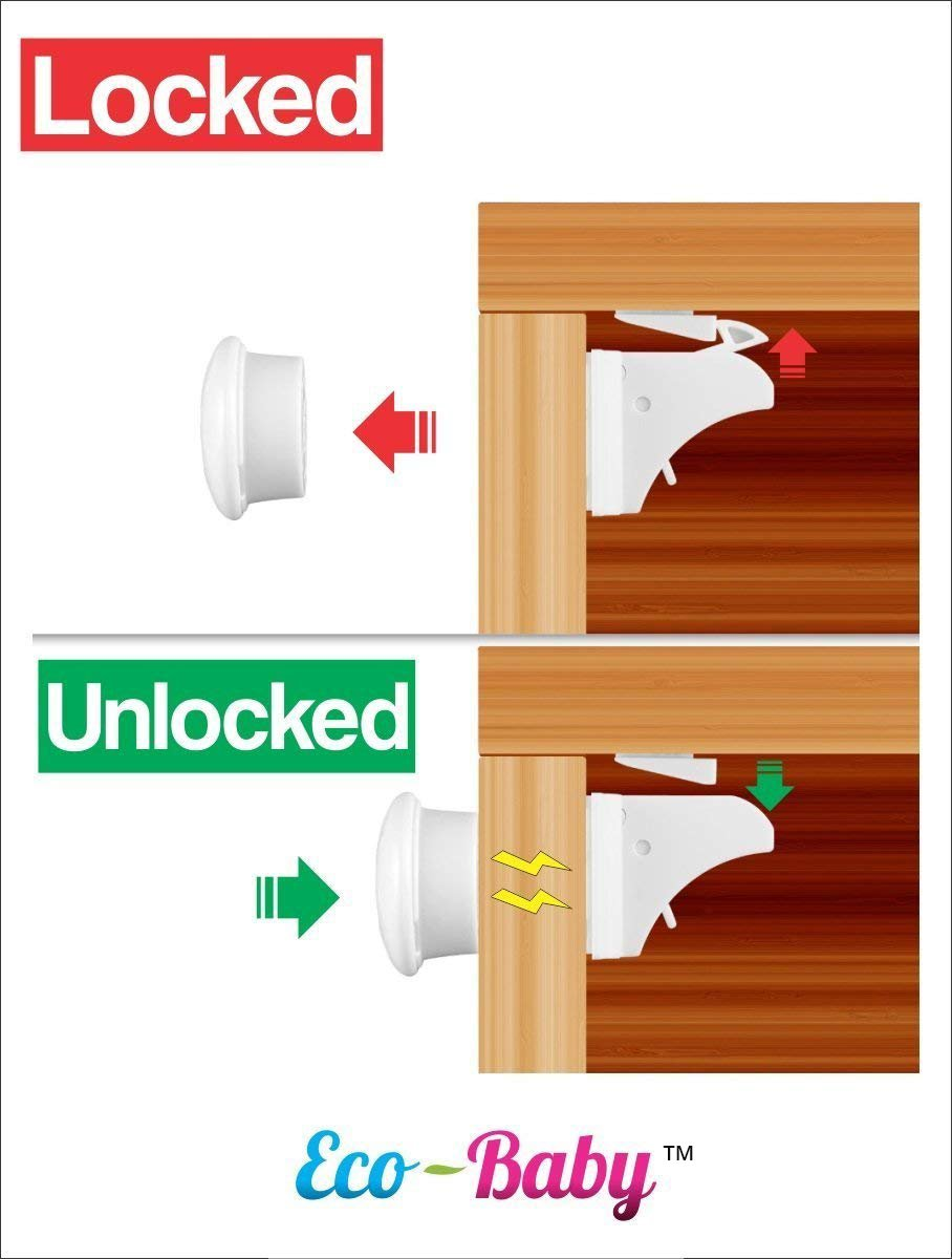 Baby & Child Proof Cabinet & Drawers Magnetic Safety Locks - Heavy Duty Locking System (6 Pack) by Ecobaby (Image #5)
