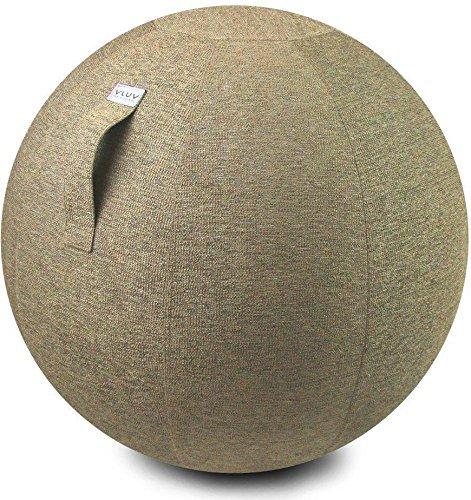 """Price comparison product image VLUV STOV 29.5"""" Premium Quality Self-Standing Sitting Ball with Handle - Home or Office Chair and Exercise Ball for Yoga,  Back Stretching,  or Gym - Pebble Colored Upholstery Fabric Stability Ball"""