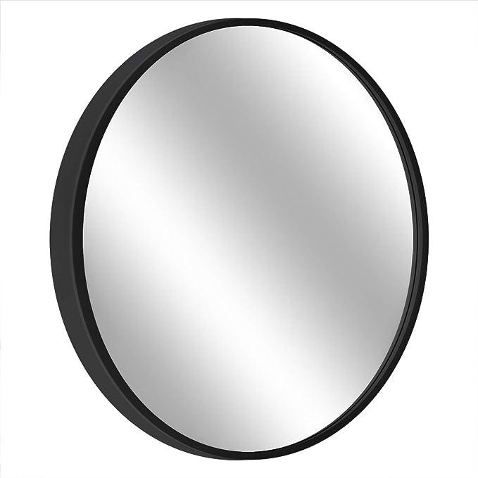 "MORIGEM Round Mirror, 23.6"" Wall Mirror, Wall-Mounted Mirror for Bedroom, Bathroom, Living Room & Entryway, 1.4"" Metal Frame Vanity Mirror, Black"