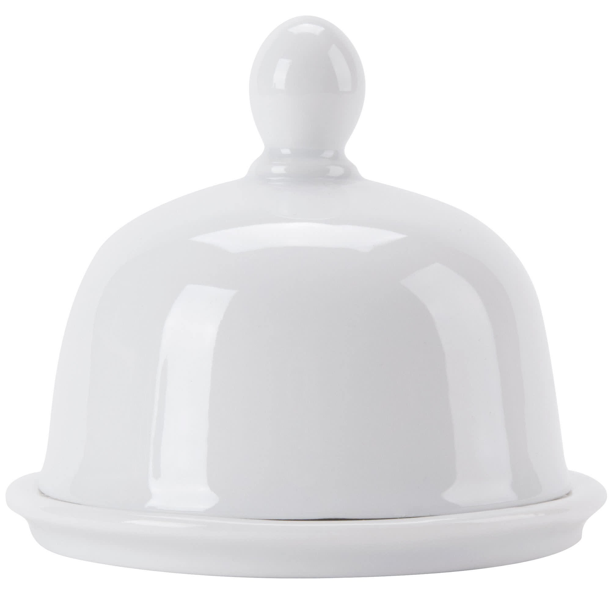 CAC BUT-1 Gourmet 1 oz. Bright White Porcelain Butter Dish with Lid - 24/Case