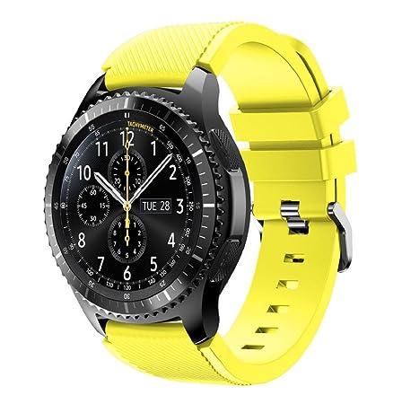 Correas para relojes Samsung Gear S3 Frontier Banda de pulsera de silicona deportiva saisiyiky (Amarillo): Amazon.es: Electrónica
