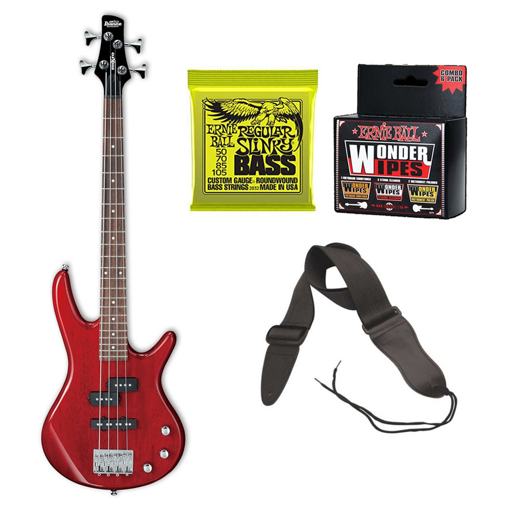 Ibanez MiKro Short-Scale Bass Guitar (Transparent Red) Bundle Includes Extra Bass Strings, Guitar Strap and Wonder Wipes