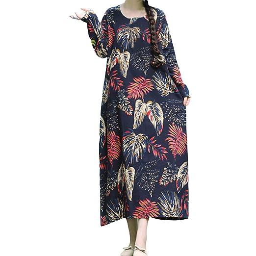 04f796e547 Women Autumn Loose Linen Dress Vintage Long Sleeve Leaf Printed Boho Long  Maxi Dresses(Multicolor