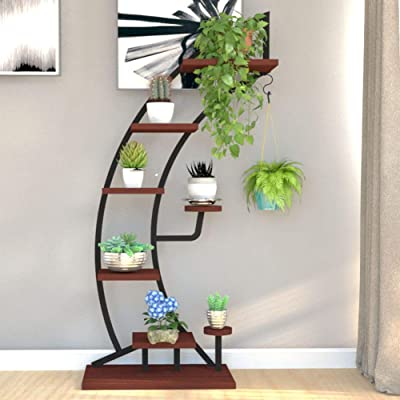 YS Tall Plant Stands Indoor with Creative Shape, Large Functional Iron Flower Stand for Displaying Plant/Books/Bonsai, Metal Display Shelf for Dining Room, Living Room, Office, Dorm Room (Bow, Black): Home & Kitchen